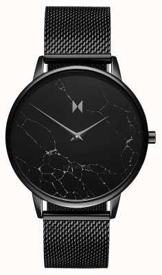 MVMT Boulevard melrose marmer | zwarte pvd mesh armband D-MB01-BLMA