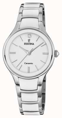 Festina | keramiek voor vrouwen | zilveren / witte armband | witte wijzerplaat | F20474/1