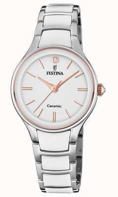 Festina | keramiek voor vrouwen | zilveren / witte armband | rose goud / wit F20474/2