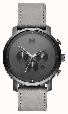 MVMT Chrono 45mm zwart-wit | grijze lederen band | grijze wijzerplaat D-MC01-BBLGR
