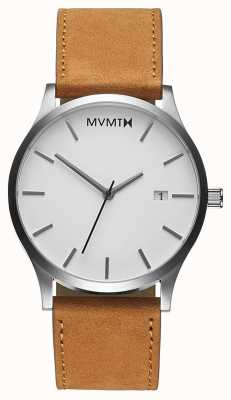 MVMT Klassieke witte kleur | bruine leren band | witte wijzerplaat D-L213.1L.331