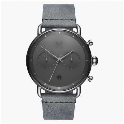MVMT Blacktop zilveren mist | grijze lederen band | grijze wijzerplaat D-BT01-SGR