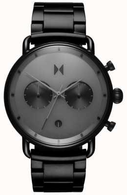 MVMT | blacktop sterrenlicht | zwarte pvd armband | grijze wijzerplaat | D-BT01-BB
