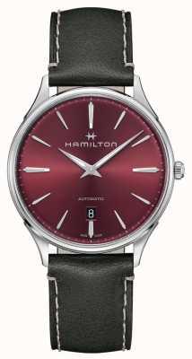 Hamilton Jazzmaster-thinline | automatisch | rode wijzerplaat | grijze riem H38525771