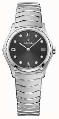 EBEL Sportklassieker voor dames | grijze wijzerplaat | diamanten set | roestvrij 1216416A