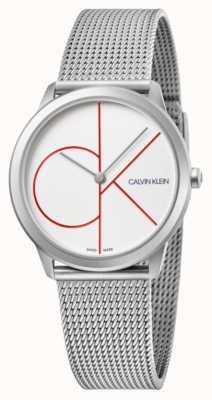 Calvin Klein | minimaal | roestvrij stalen gaas armband | zilveren wijzerplaat | K3M52152