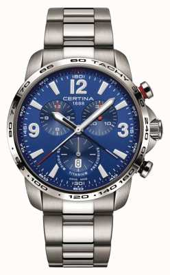 Certina ds podium | blauwe chronograaf wijzerplaat | titanium armband | C0016474404700