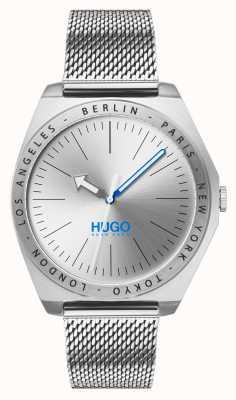 HUGO #act | roestvrijstalen gaas | zilveren wijzerplaat 1530107