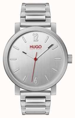 HUGO #rase | roestvrijstalen armband | zilveren wijzerplaat 1530117