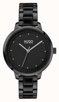 HUGO # bereiken | zwarte ip armband | zwarte wijzerplaat 1540038