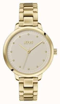 HUGO # bereiken | gouden ip armband | champagne wijzerplaat 1540039