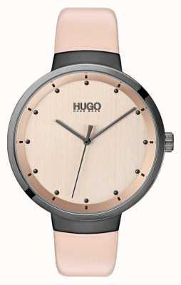 HUGO #go | roze leren band | rose gouden wijzerplaat 1540001