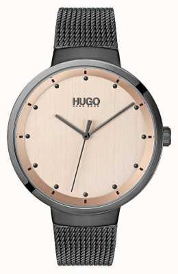 HUGO #go | grijs ip mesh | rosé gouden wijzerplaat 1540003