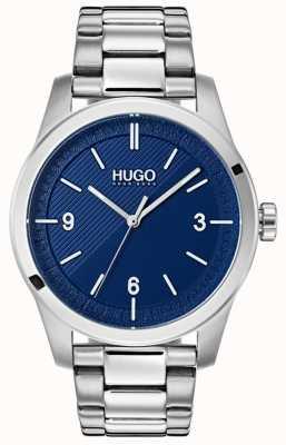 HUGO #creëren | roestvrijstalen armband | blauwe wijzerplaat 1530015