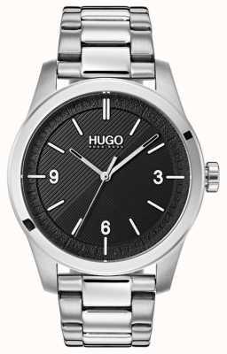 HUGO #creëren | roestvrijstalen armband | zwarte wijzerplaat 1530016