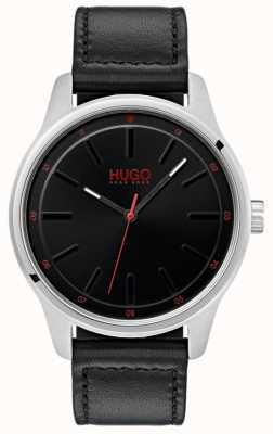 HUGO #dare | zwarte lederen band | zwarte wijzerplaat 1530018