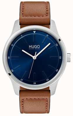 HUGO #dare | bruine lederen band | blauwe wijzerplaat 1530029