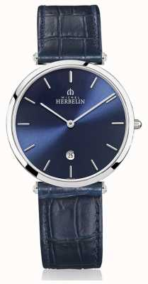 Michel Herbelin | heren | epsilon | blauwe lederen band | blauwe wijzerplaat | 19406/15BL