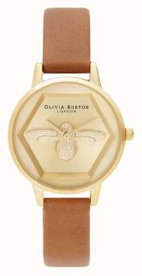 Olivia Burton | 3d bijen liefdadigheids horloge | honingbruin vegan bandje OB16AM167