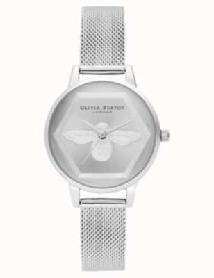 Olivia Burton | 3d bijen liefdadigheids horloge | zilver gaas | zilveren bijen motief wijzerplaat OB16AM168