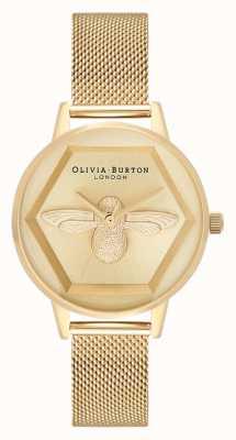 Olivia Burton | 3d bijen liefdadigheids horloge | geelgouden armband van gaas | OB16AM169