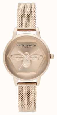 Olivia Burton | 3d bijen liefdadigheids horloge | roségouden armband van mesh | OB16AM170
