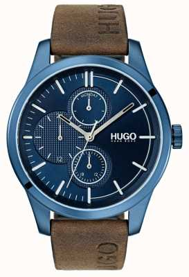 HUGO #discover | bruine lederen band | blauwe wijzerplaat 1530083