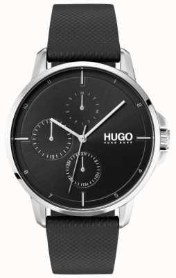 HUGO #focus | zwarte lederen band | zwarte wijzerplaat 1530022