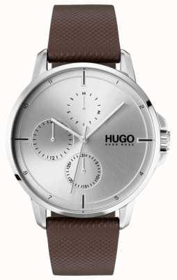 HUGO #focus | bruine lederen band | zilveren wijzerplaat 1530023