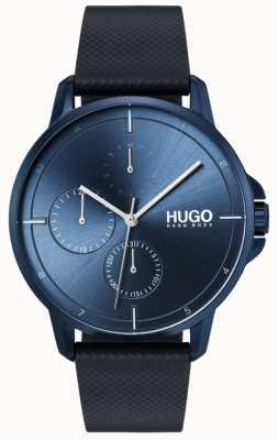 HUGO #focus | blauwe leren band | blauwe wijzerplaat 1530033