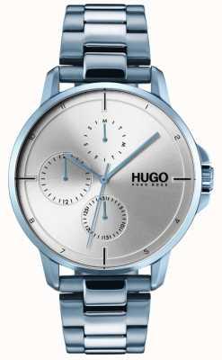 HUGO #focus | blauwe ip armband | zilveren wijzerplaat 1530051
