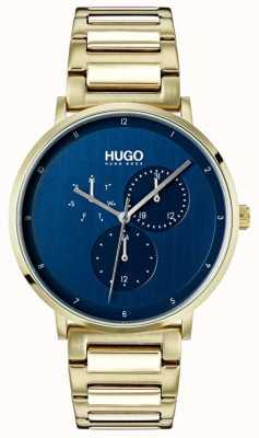 HUGO #guide | gouden ip armband | blauwe wijzerplaat 1530011