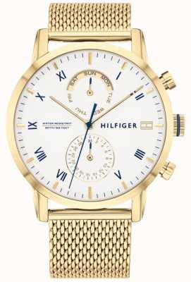 Tommy Hilfiger | heren armband van goudkleurig staal | witte wijzerplaat | 1710403