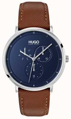 HUGO #guide | bruine lederen band | blauwe wijzerplaat 1530032