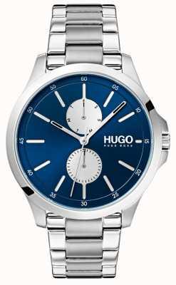 HUGO #jump | roestvrij stalen armband | blauwe wijzerplaat 1530004