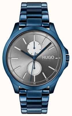 HUGO #jump | blauwe ip armband | grijze wijzerplaat 1530006