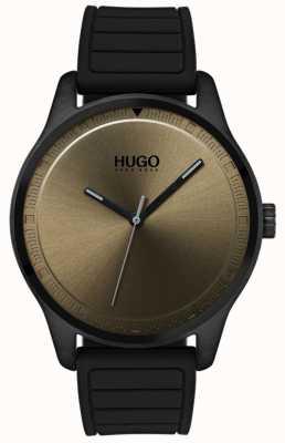 HUGO #move | zwarte rubberen band | kaki wijzerplaat 1530041