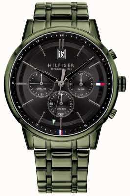 Tommy Hilfiger Kyle | groene pvd vergulde armband | zwarte wijzerplaat | 1791634