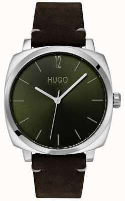 HUGO #eigen | zwarte leren band | groene wijzerplaat 1530068