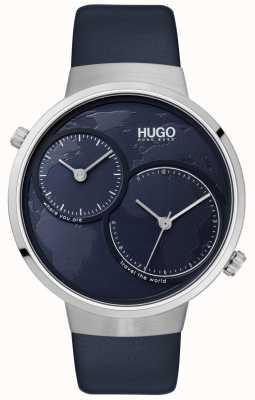 HUGO #reis | blauwe lederen band | blauwe wijzerplaat 1530053