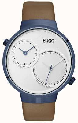 HUGO #reis | bruine lederen band | witte wijzerplaat 1530054
