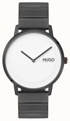 HUGO #echo | grijze ip armband | witte wijzerplaat 1520022