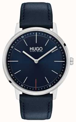 HUGO #bestaan | blauwe leren band | blauwe wijzerplaat 1520008