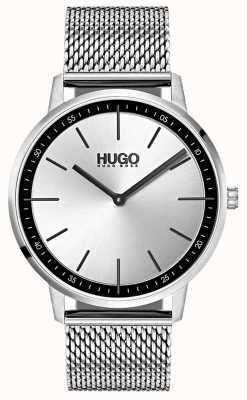 HUGO #exist | roestvrijstalen gaas | zilveren wijzerplaat 1520010