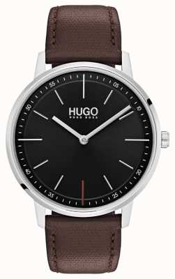 HUGO #bestaan | bruine leren band | zwarte wijzerplaat 1520014