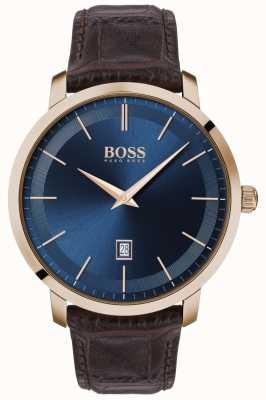Boss | premium heren klassiek | bruine lederen band | blauwe wijzerplaat | 1513745