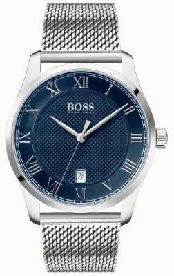 BOSS Meester | roestvrijstalen mesh armband | blauwe wijzerplaat | 1513737