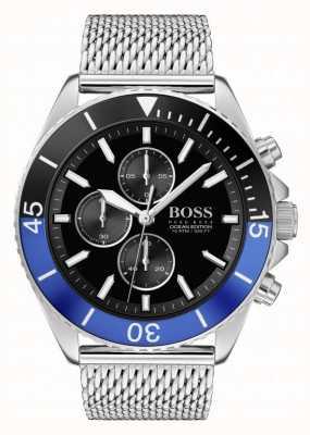 BOSS oceaaneditie voor heren | stalen mesh armband | zwarte wijzerplaat | 1513742