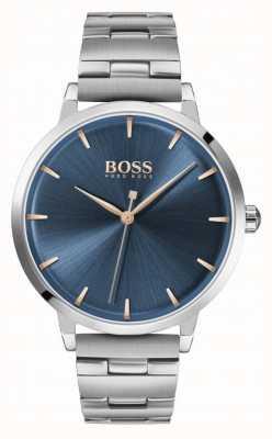 BOSS | jachthaven voor vrouwen | roestvrij stalen armband | blauwe wijzerplaat | 1502501