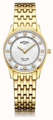 Rotary | dames ultraplat goud pvd verguld | parelmoer wijzerplaat LB08303/41/D